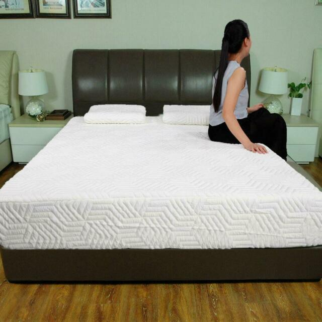 """Soft Queen Size 10/"""" Memory Foam Mattress Pad Bed Topper Bedroom With 2 Pillows"""