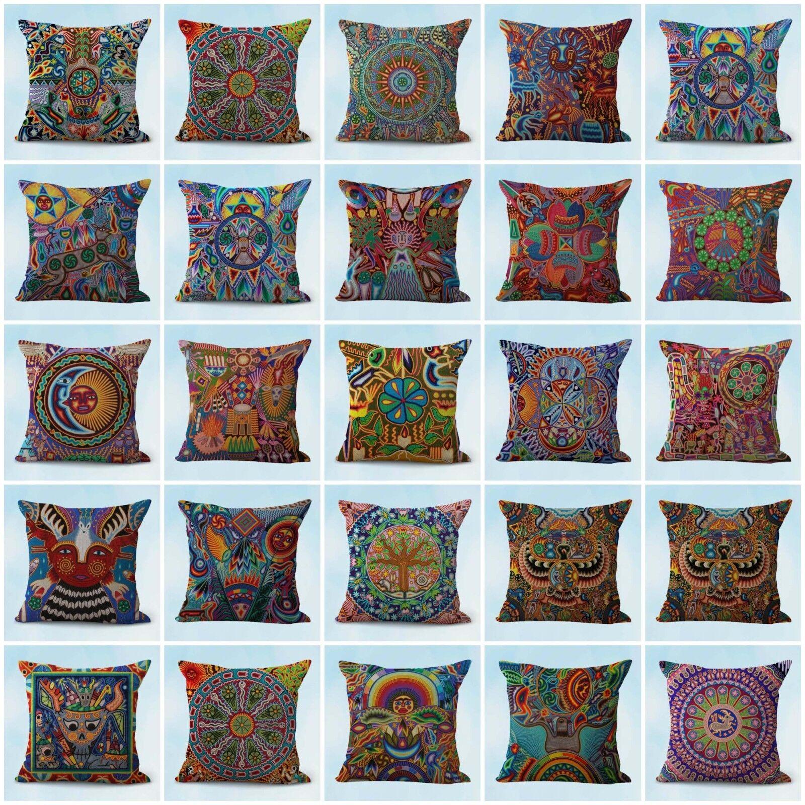 US Seller- 20pcs decorative pillow cushion covers Mexican Huichol Indian art