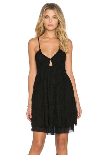 XS,S,M NWT FREE PEOPLE Nicolette Embroidered Lace Dress in Black $98