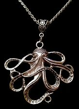 """LARGE Octopus Necklace Pendant 24""""chain Silver Charm Animal Unusual Steampunk UK"""