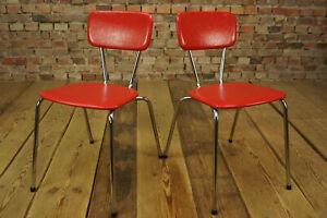 70er-Vintage-Dining-Room-Chair-Diner-Kitchen-Metal-Chrome-Red-1-2