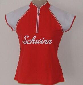 MEDIUM-Women-039-s-Schwinn-Classic-Red-amp-White-Cycling-Jersey-6-034-Zipper-Bike-Bicycle