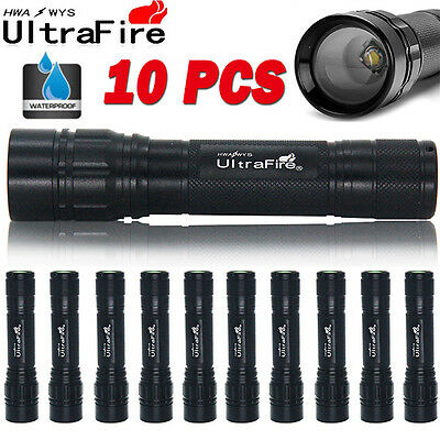 10X 15000Lumens 3-Mode T6 LED Zoomable Flashlight Torch Lamp Light Camping UK