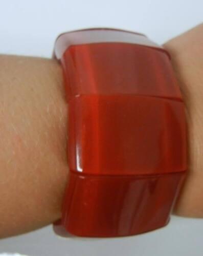 VINTAGE Modern Plastic Lucite Stretch Wide Bracele