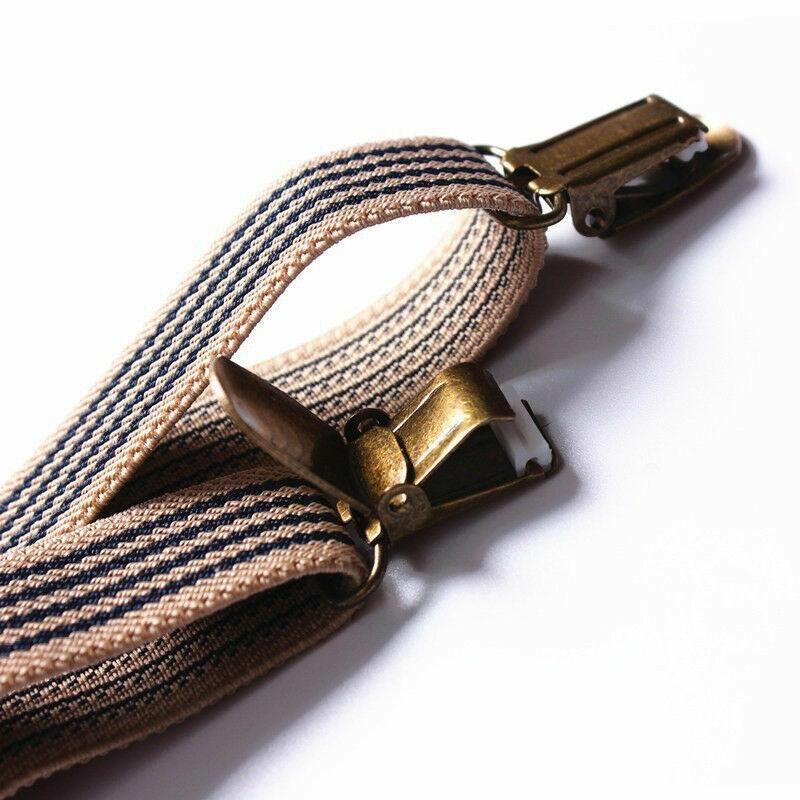 Herren Damen Verstellbar Streifen Hose Hosenträger Clip Auf Kostüm Dekor