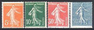 Francia-Anno-Completo-1921-Yvert-158-161-4-Francobolli-Semeuse-Nuovi-Xx-Ttb