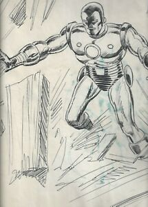 huge Dave Cockrum Iron Man '70s convention sketch, detailed original art drawing