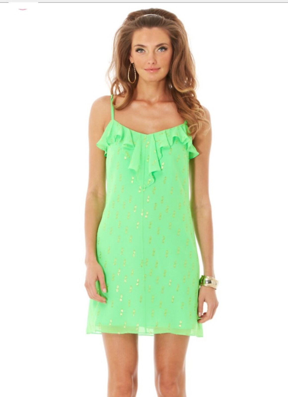 Lilly Pulitzer Silk Gianna Strappy Dress Grün Metallic Dot XS S   New