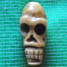 Japanese Amulet Netsuke Bovine Bone Occult Wichcraft Wiki Skull 33mm