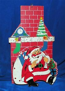 Vtg 1950 wood pop open collapsible santa christmas card - Christmas card wall holder ...