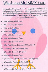 Baby Shower Game Who Knows Mummy Best Gift For Mum Keepsake First