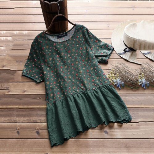 Plus Size Womens Loose Fit Cotton Linen Tops Ladies Casual Summer Blouse Shirts