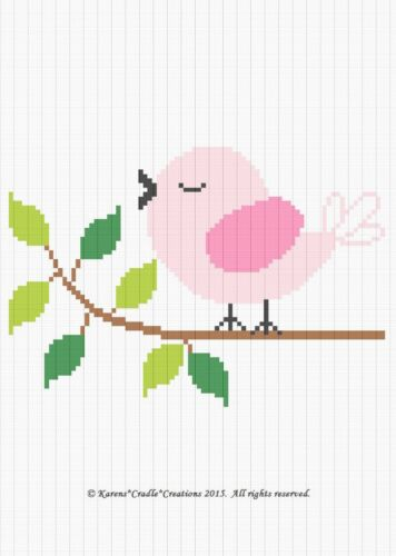 BIRD ON A BRANCH Color Graph Baby Afghan Pattern