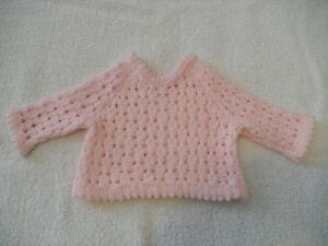 baby039s hand knitted long sleeved sweater in pink to fit prem baby - <span itemprop=availableAtOrFrom>Newton Stewart, United Kingdom</span> - baby039s hand knitted long sleeved sweater in pink to fit prem baby - Newton Stewart, United Kingdom