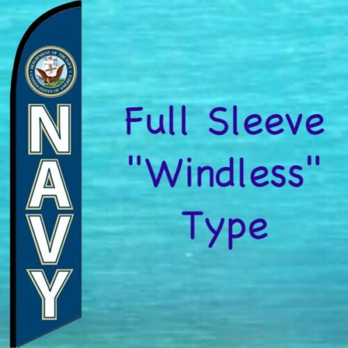 NAVY WINDLESS FEATHER FLAG Tall Curved Top Advertising Swooper Banner Sign U.S