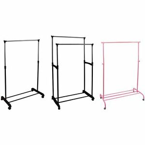 Image Is Loading Garment Rack Single Double Silver Or Pink Adjustable