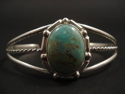 VINTAGE Navajo ROYSTON GREEN TURQUOISE Silver Bracelet Old pawn