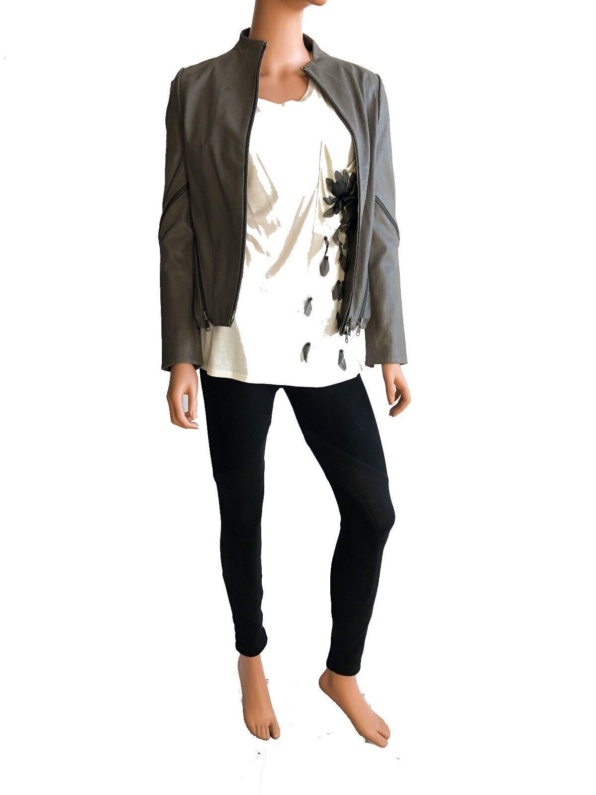 Haute Hippie  Longsleeve    light olive  leather jacket Größe S