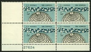 1237-5c-The-Sciences-Plate-Block-27624-LL-Mint-ANY-4-FREE-SHIPPING