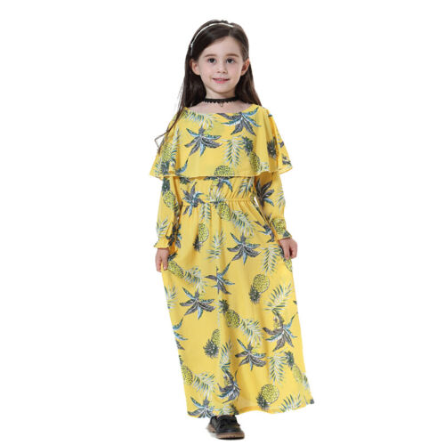 Floral Muslim Kids Girls Long Dress Kaftan Maxi Islamic Abaya Robe Arab Clothes