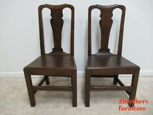 Pair-Antique-Tiger-Oak-Dining-Room-Side-Chairs-Primitive-Chippendale-Primitive-B