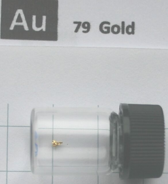 20 miligram Gold Metal Crystal 99,99%  in glass vial - Pure element 79 sample