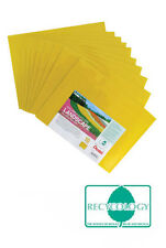 10 x A4 Plastic Document Wallets Envelope Landscape Stud Poppers - Yellow