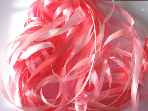 5 x 2 M 10 METERS PRETTY SHADES OF PINK RIBBON SHINEY SATIN PACK