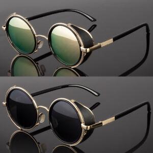 Vintage Retro Oval Round Frame Biker Side Shield Steampunk Hipster Sunglasses