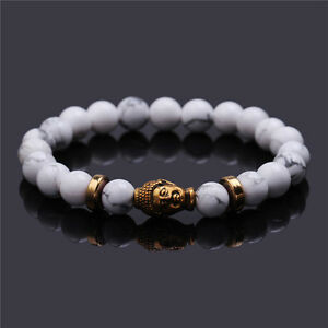 Men-039-s-Natural-White-Turquoise-Stone-Gold-Buddha-Beaded-Charm-Lucky-Bracelet-8mm