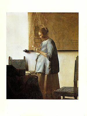 """1981 Vintage VERMEER /""""WOMAN IN BLUE READING A LETTER/"""" COLOR offset Lithograph"""