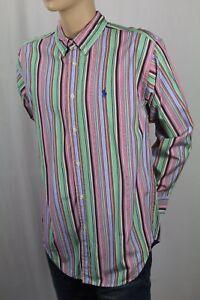Ralph Lauren Pink /& Blue Stripe Long Sleeve Shirt //Blue Pony-NWT