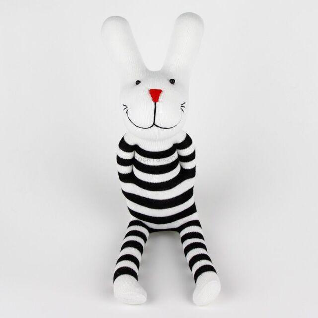 Handmade Black White Striped Sock Monkey Rabbit Bunny Stuffed Animals Baby Toy