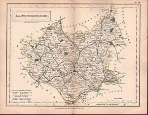 1860 HALL COUNTY MAP RAILWAYS LEICESTERSHIRE ASHBY HINCKLEY