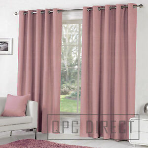 Details About Pair Of Plain Dyed 100 Cotton Eyelet Ring Top Lined Curtains Dusky Pink Blush