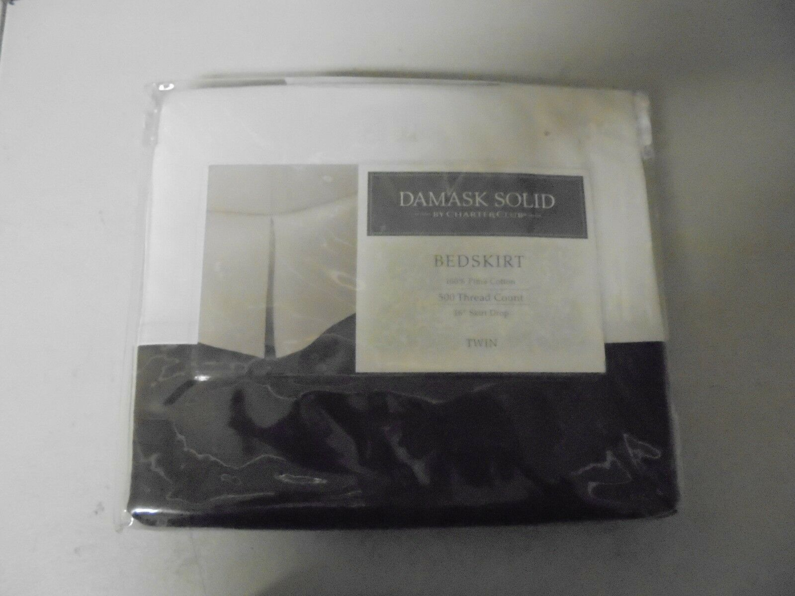Damask Solid BROWN  TWIN 500 Thread Count Bed Skirt
