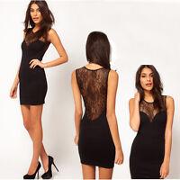 New Women Sexy Lace Sleeveless Black Stretch Clubwear Party Cocktail Mini Dress