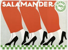 SALAMANDER SHOES, 1912 Vintage German Shoe Advertising Poster on CANVAS 31x24 in