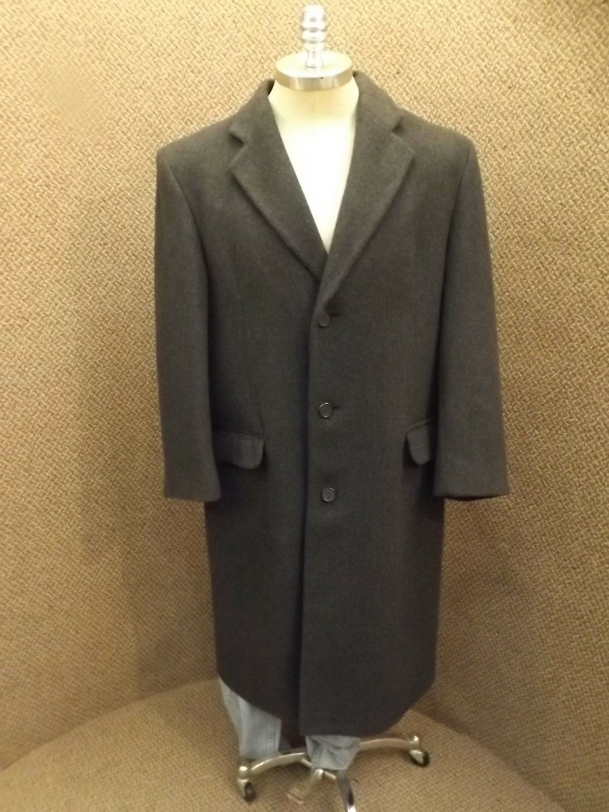 Classy Vtg Slovakia Made Teller Coat Charcoal Cashmere Wool Long Trench Sz 44-46