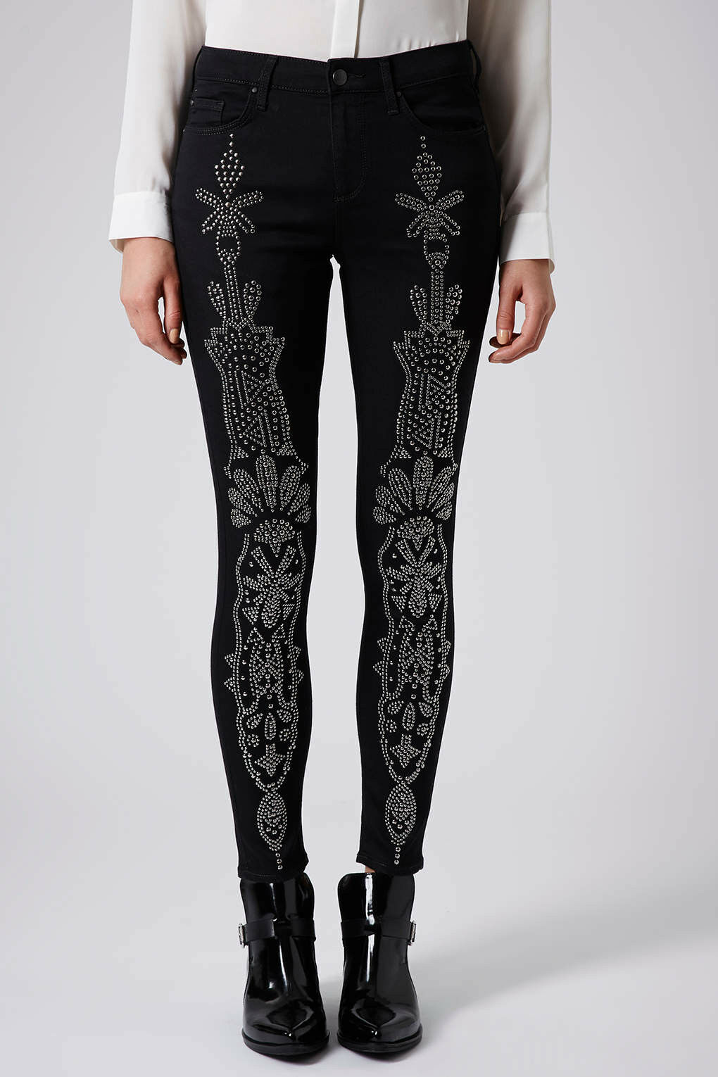 Topshop Womens Studded Leigh Skinny Trousers Pants  Jeans UK10 EUR38 US6  hot limited edition