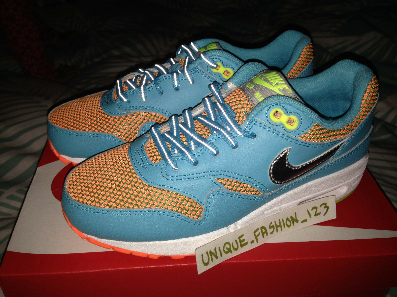 Nike AIR MAX 1 le GS Gamma Blu Arancione US 7Y Rosa 90 Huarache Qs HYPER