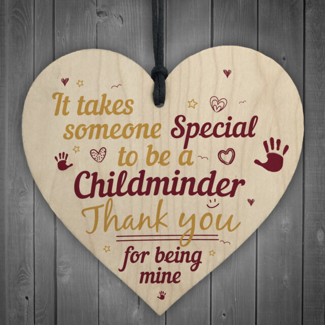 Special Childminder Wooden Heart Babysitter Plaque Thank You Sign Birthday Gifts
