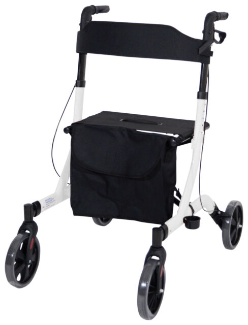 Aidapt Deluxe Ultra Lightweight 4 Wheeled Rollator Adjustable & foldable White