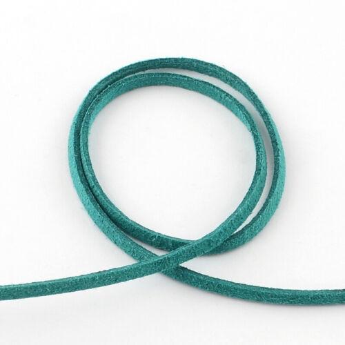 Cable de ante de imitación Tanga Hilo 3mm X 1.5mm Cerceta Azul para grano collar de encordado