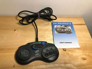 Sega-CD-Genesis-SG-Propad-6-Button-Turbo-Controller-Cleaned-Tested-w-Manual