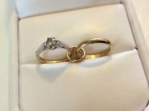 Lovely-Vintage-9-Carat-Gold-Marriage-Rings-Charm-Pendant