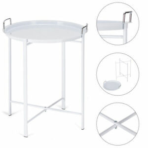 Round White Metal Tray End Side Table Living Room Bedroom Patio