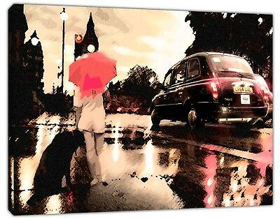 LONDON BLACK TAXI WOMEN WITH DOG PHOTO PRINT ON WOOD FRAMED CANVAS WALL ART