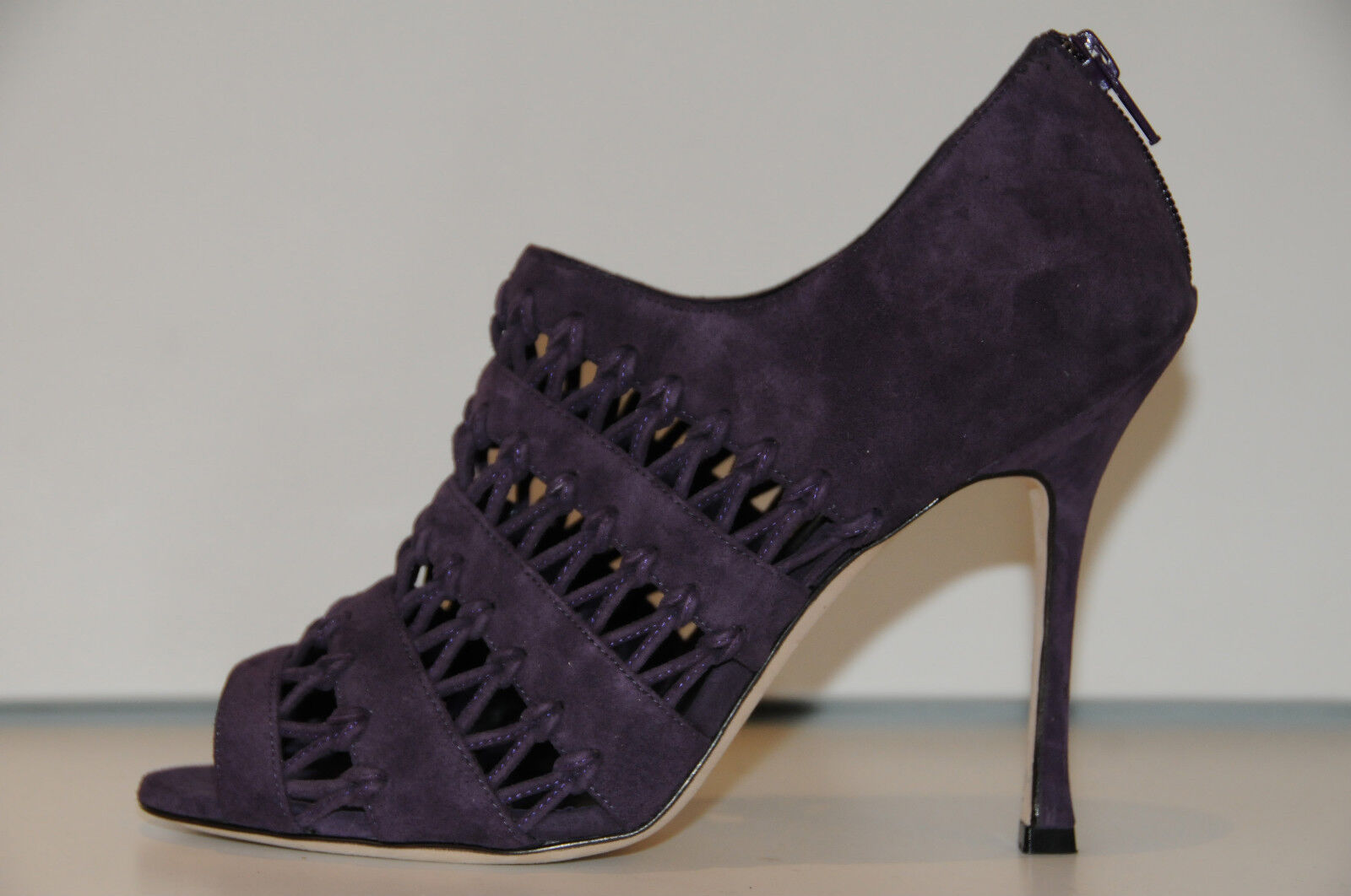 1345 New MANOLO BLAHNIK PILA Dk Purple SUEDE SANDALS BOOTIES BOOTS SHOES 39.5