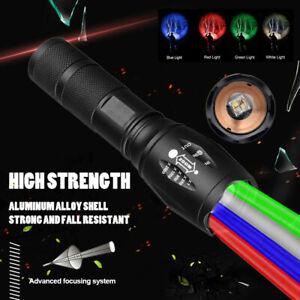 4 in1 Taktische Rot Grün Blau Weiß Licht LED Taschenlampe Jagd Fisch Licht Light